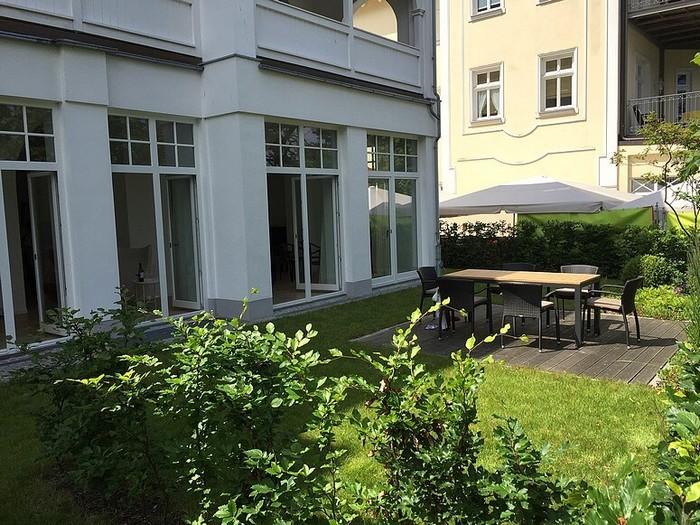 Ansicht vom Garten der Wohnung 3 Villa Seeblick Binz